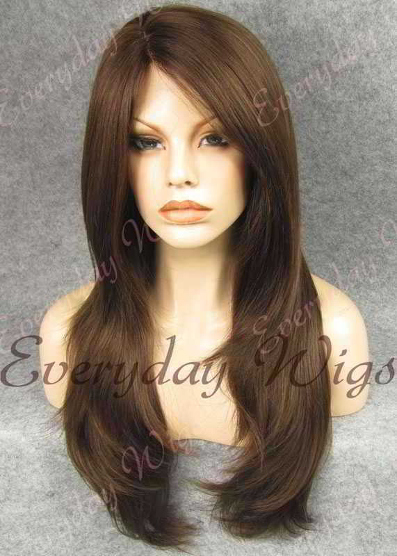 "24"" #3-Medium Dark Brown Straight Synthetic Lace Front Wig- edw255"