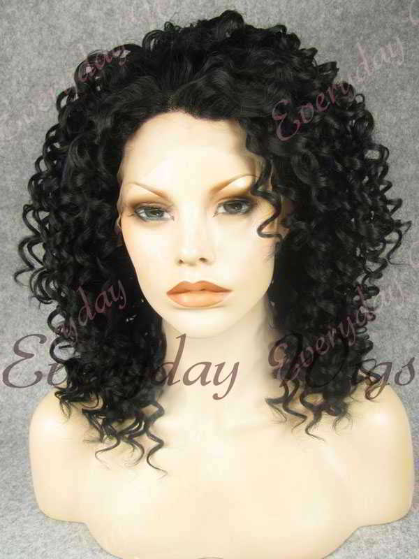 "16"" #1-Jet Black Curly Synthetic Lace Front Wig- edw259"