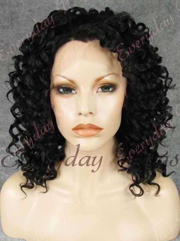 "16"" #1B-Off Black Curly Synthetic Lace Front Wig- edw260"