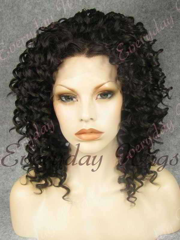 "16"" Natural Black Curly Synthetic Lace Front Wig- edw261"