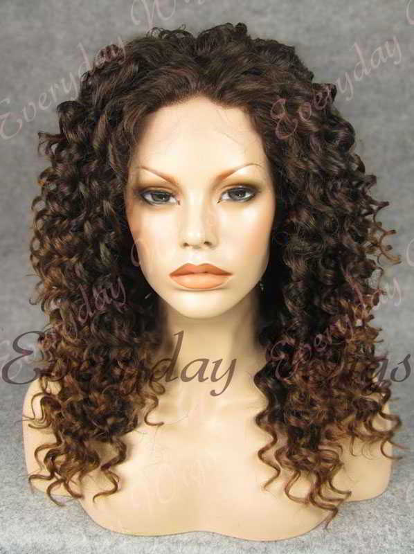 "18"" Mix Color Long Curly Synthetic Lace Front Wig- edw267"
