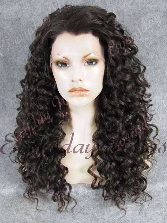 "24"" #2-Darkest Brown Long Curly Synthetic Lace Front Wig- edw268"