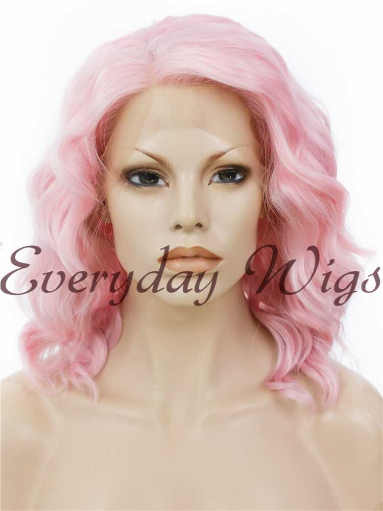 "14"" Pink Bob Wavy Synthetic Lace Front Wig- edw270"