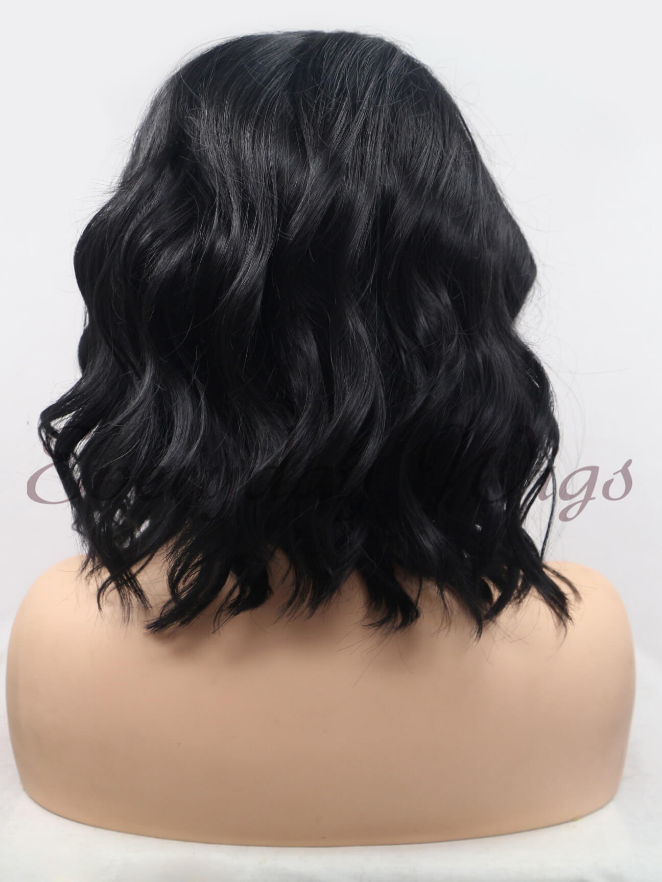 "14"" #1B-Off Black Curly Bob Synthetic Lace Front Wig- edw271"