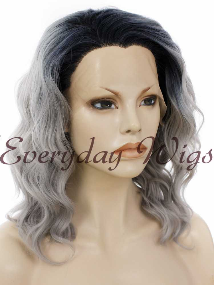 14 Ombre Grey Short Bob Wavy Synthetic Wigs Edw272