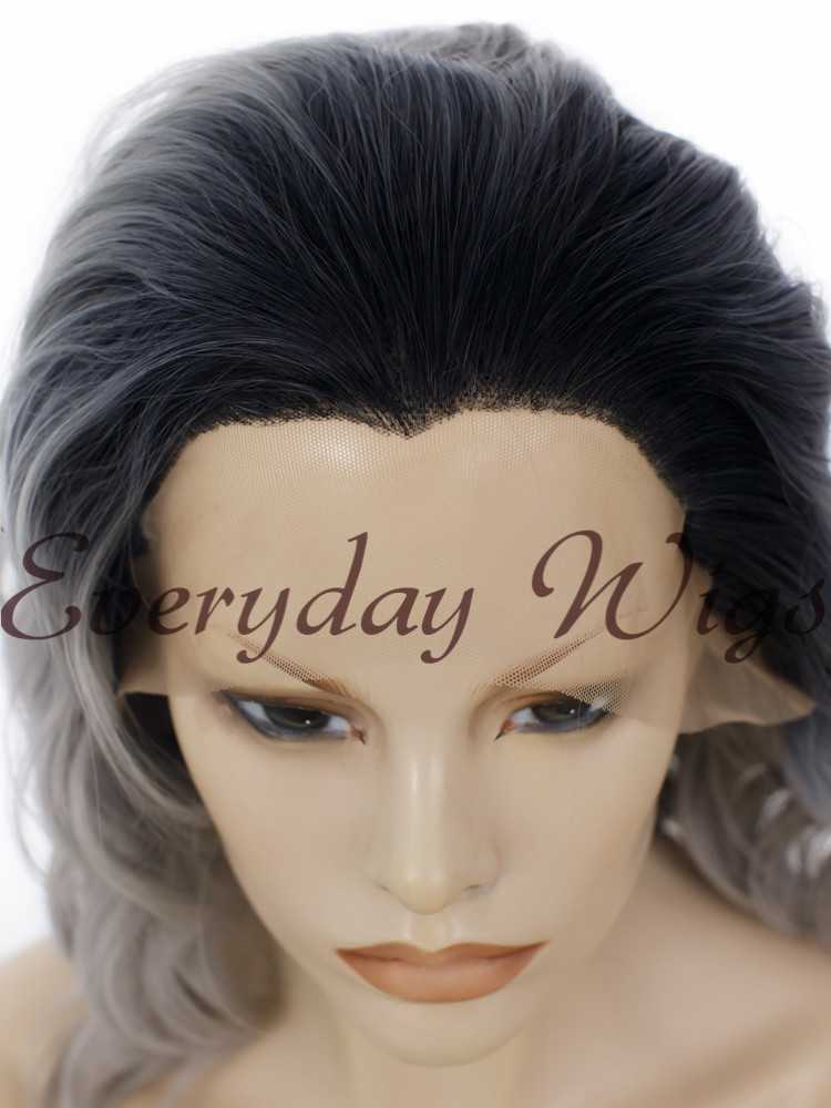 "14"" Ombre Grey Short Bob Wavy Synthetic Wigs - edw272"