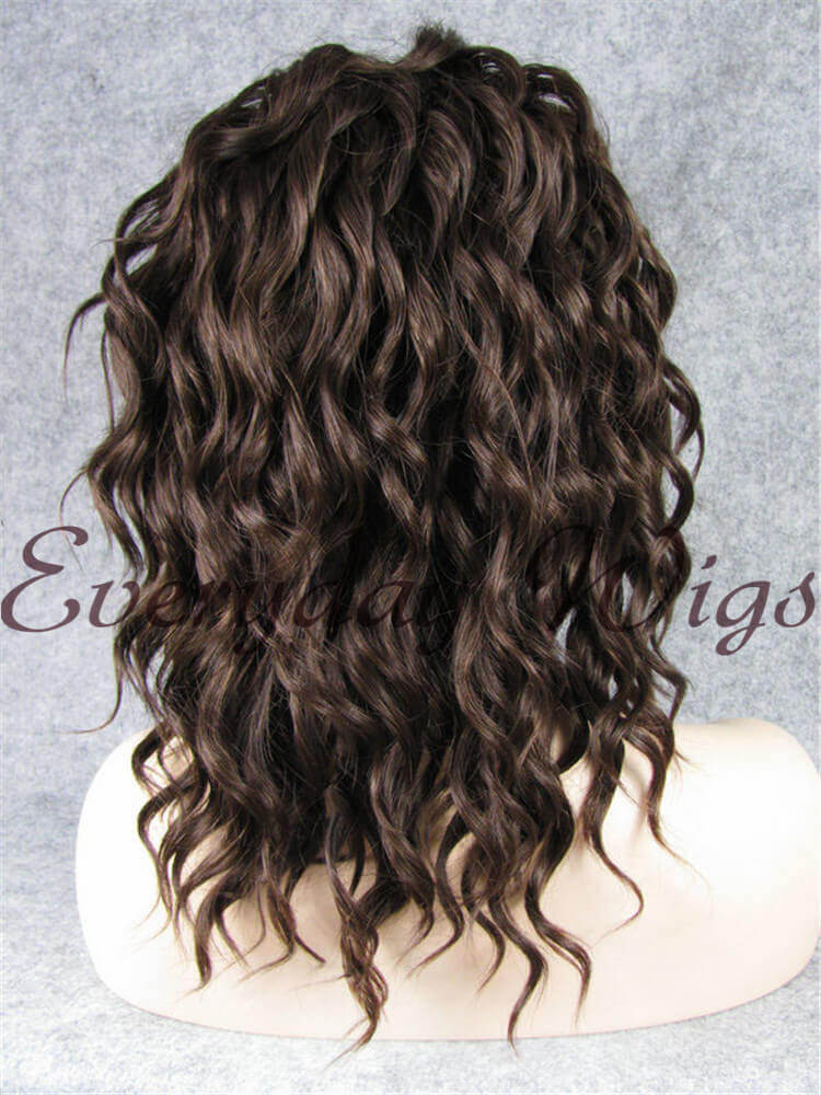 "14"" #3-Medium Dark Brown Curly Bob Synthetic Lace Front Wig- edw273"