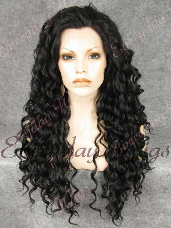 "24"" #1B-Off Black Long Curly Synthetic Lace Front Wig- edw275"