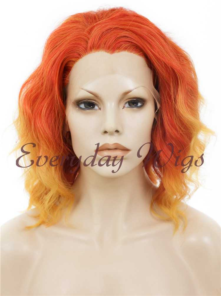 "14"" Ombre Orange bob wavy Synthetic lace Wigs- edw276"