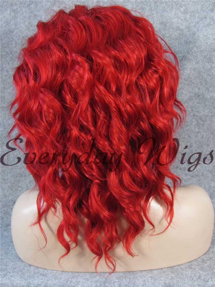 "14"" Red Bob wavy Synthetic Lace Front Wigs- edw277"