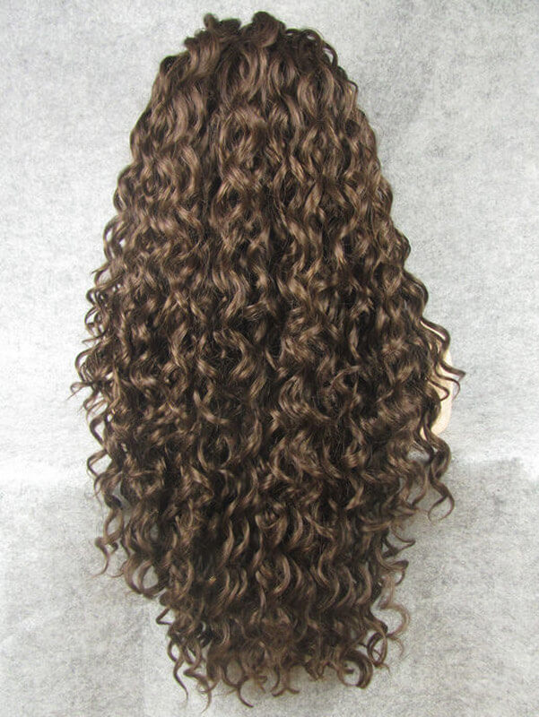 "24"" #2-Darkest Brown Long Curly Synthetic Lace Front Wig- edw278"