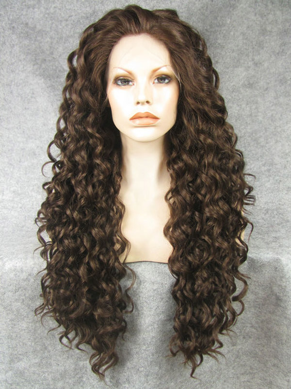 "24"" Darkest Brown Long Curly Synthetic Lace Front Wig- edw278"