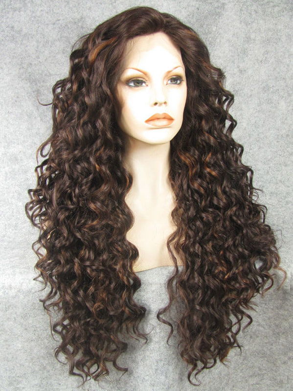 "24"" #1B Mix #2 Long Curly Synthetic Lace Front Wig- edw279"
