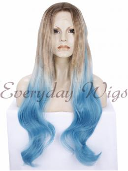 "26"" Ombre Blue Synthetic Lace Wigs- edw280"