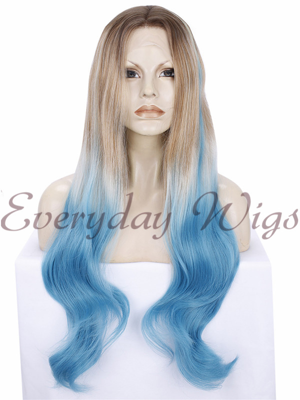 "26"" Ombre Blue Synthetic Lace Wigs- edw280 - Click Image to Close"