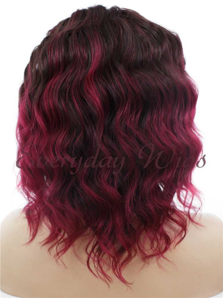 "14"" Ombre Red Bob Wavy Synthetic Lace Front Wig- edw281"