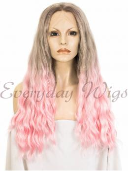 "24"" Ombre Pink Wavy Synthetic Hair Wigs- edw283"
