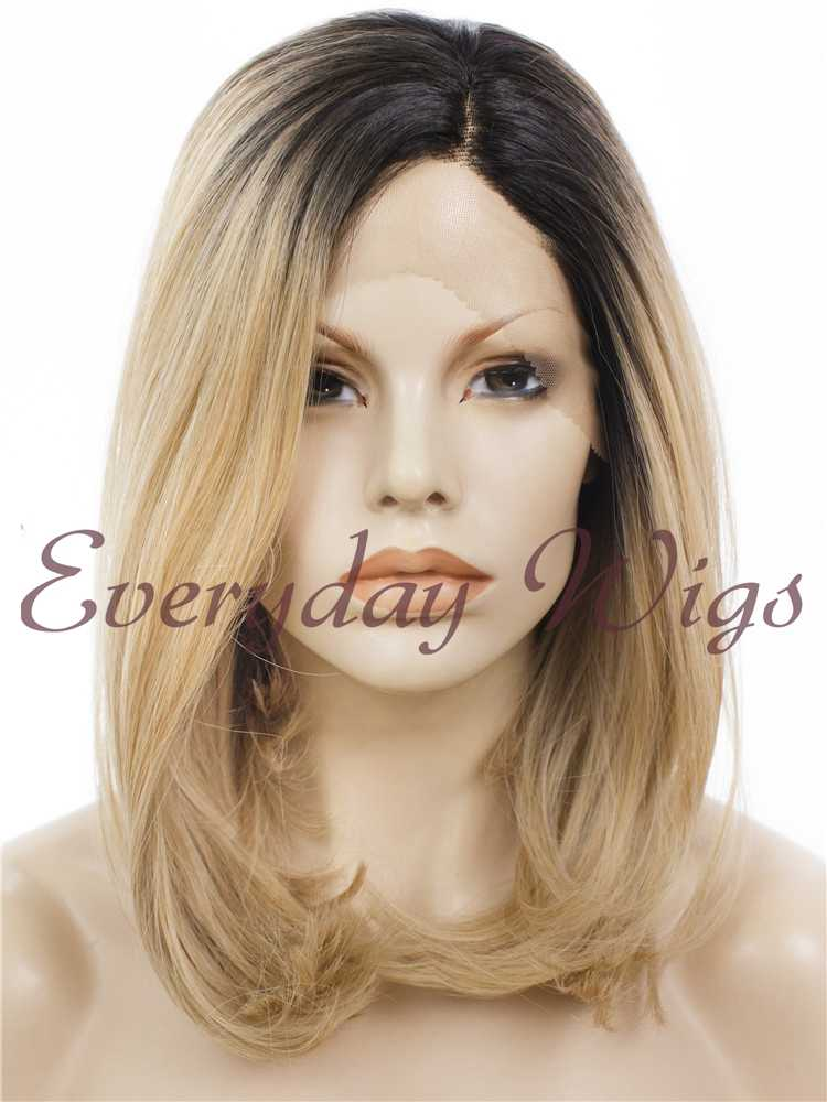 "14"" Ombre Blonde Wavy Synthetic Lace Front Wig- edw284 - Click Image to Close"