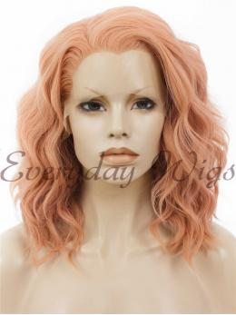 "14"" Pink Bob wavy Synthetic Lace Front Wig- edw286"