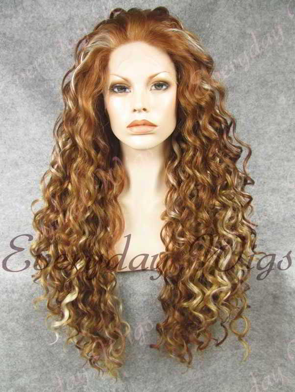 "24"" Highlight Color Long Curly Synthetic Lace Front Wig- edw288"