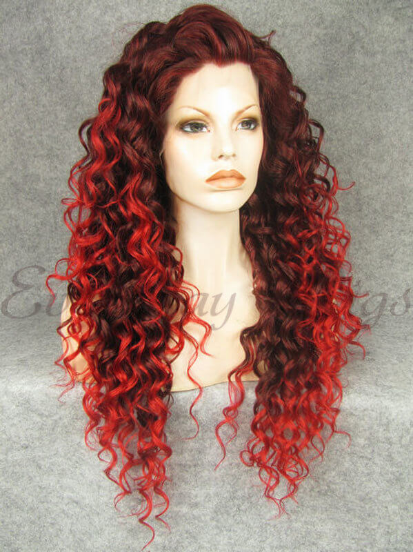 "24"" Ombre Red Curly Synthetic Lace Front Wig - edw289"