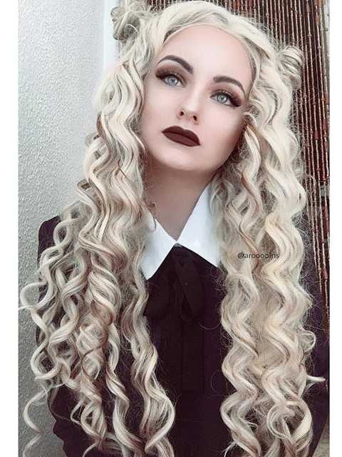 "24"" Mix Color Long Curly Synthetic Lace Front Wig- edw292"