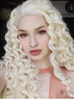 "24"" Pale Golden blonde curly wig long Synthetic Wigs- edw293"