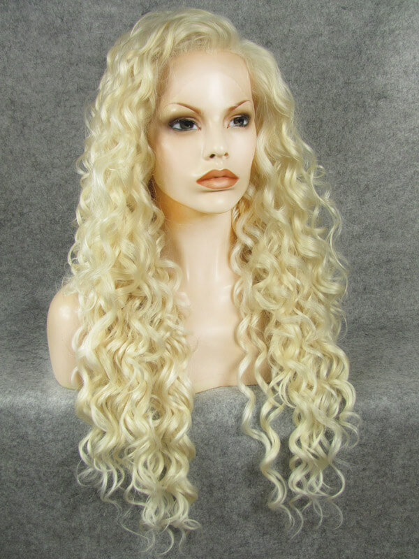 "24"" Pale Golden Blonde Long Curly Synthetic Lace Front Wig- edw293"