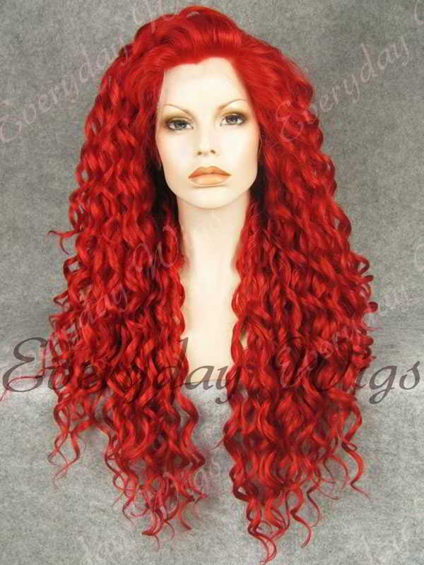 24 Red Long Curly Synthetic Lace Front Wig- edw295 Ombre Hair Blue And Green