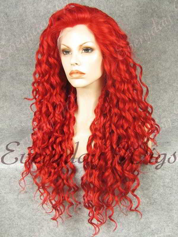 "24"" Red Long Curly Synthetic Lace Front Wig- edw295"