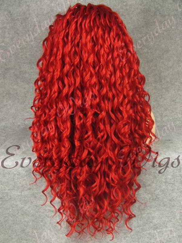 24 Red Long Curly Synthetic Lace Front Wig Edw295