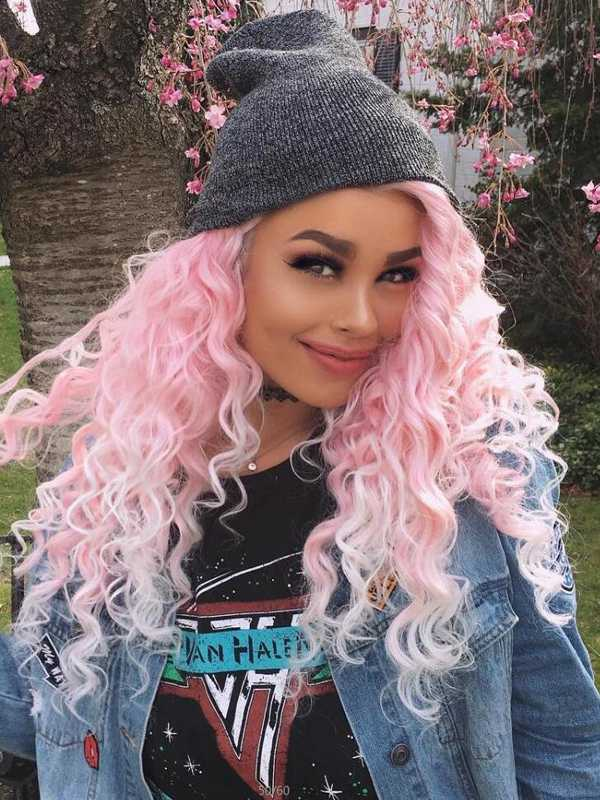 "24"" Pink Ombre Long Curly Synthetic Lace Front Wig- edw296"