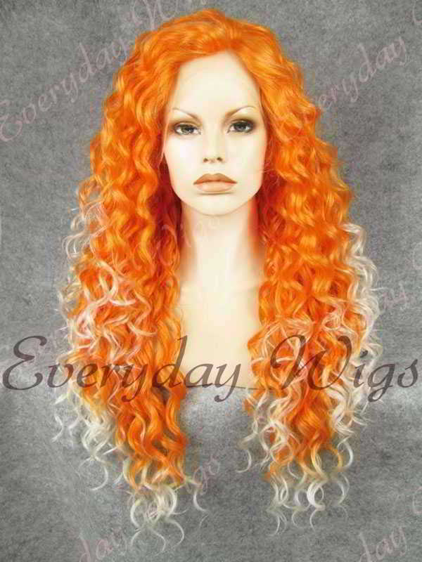 "24"" Orange Ombre White Long Curly Synthetic Lace Front Wig- edw298"