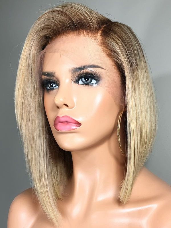 Ombre Blonde Short Bob Human Hair Wig - edw2999 - Click Image to Close