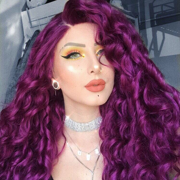 "24"" Purple Long Curly Synthetic Lace Front Wig- edw299"