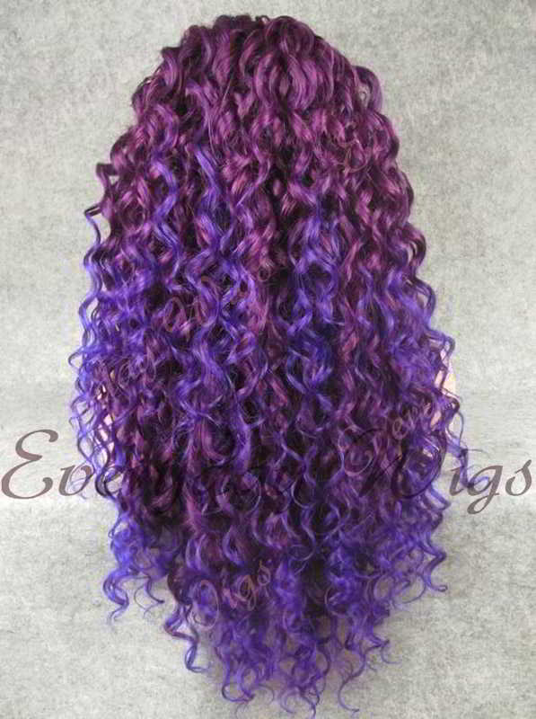 "24"" Purple Ombre Blue Long Curly Synthetic Lace Front Wig- edw300"