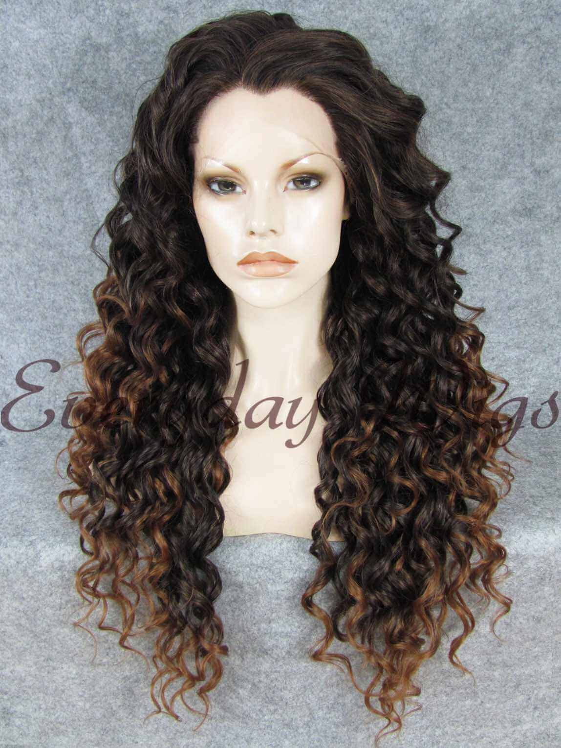 "24"" Ombre Brown Curly Synthetic Lace Front Wig - edw302"