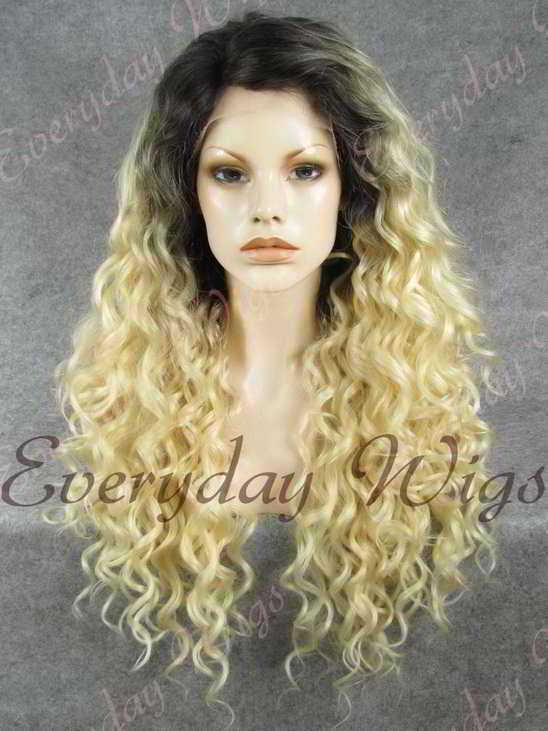 "24"" Blonde Ombre Long Curly Synthetic Lace Front Wig- edw303"