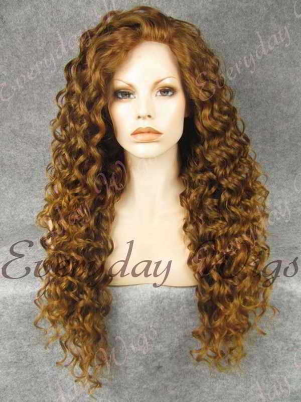 "24"" Chestnut Blonde Long Curly Synthetic Lace Front Wig- edw304"