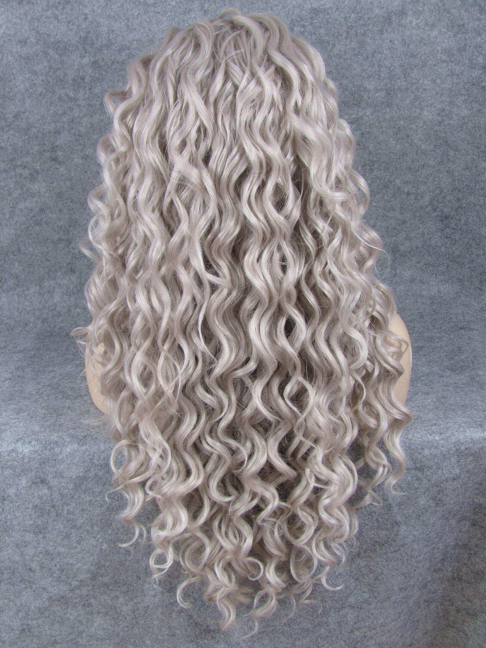 "24"" Grey Long Curly Synthetic Lace Front Wig- edw306"