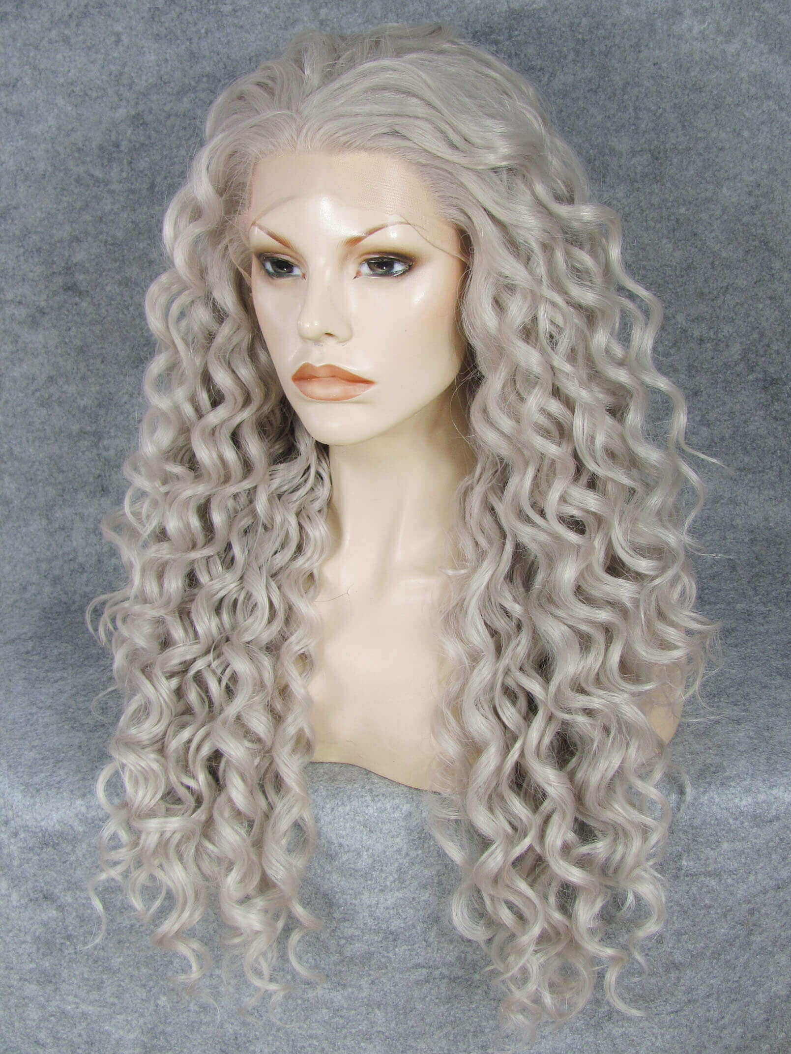 24 Grey Long Curly Synthetic Lace Front Wig- edw306