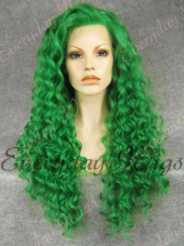 "24"" Green Long Curly Synthetic Lace Front Wig- edw307"