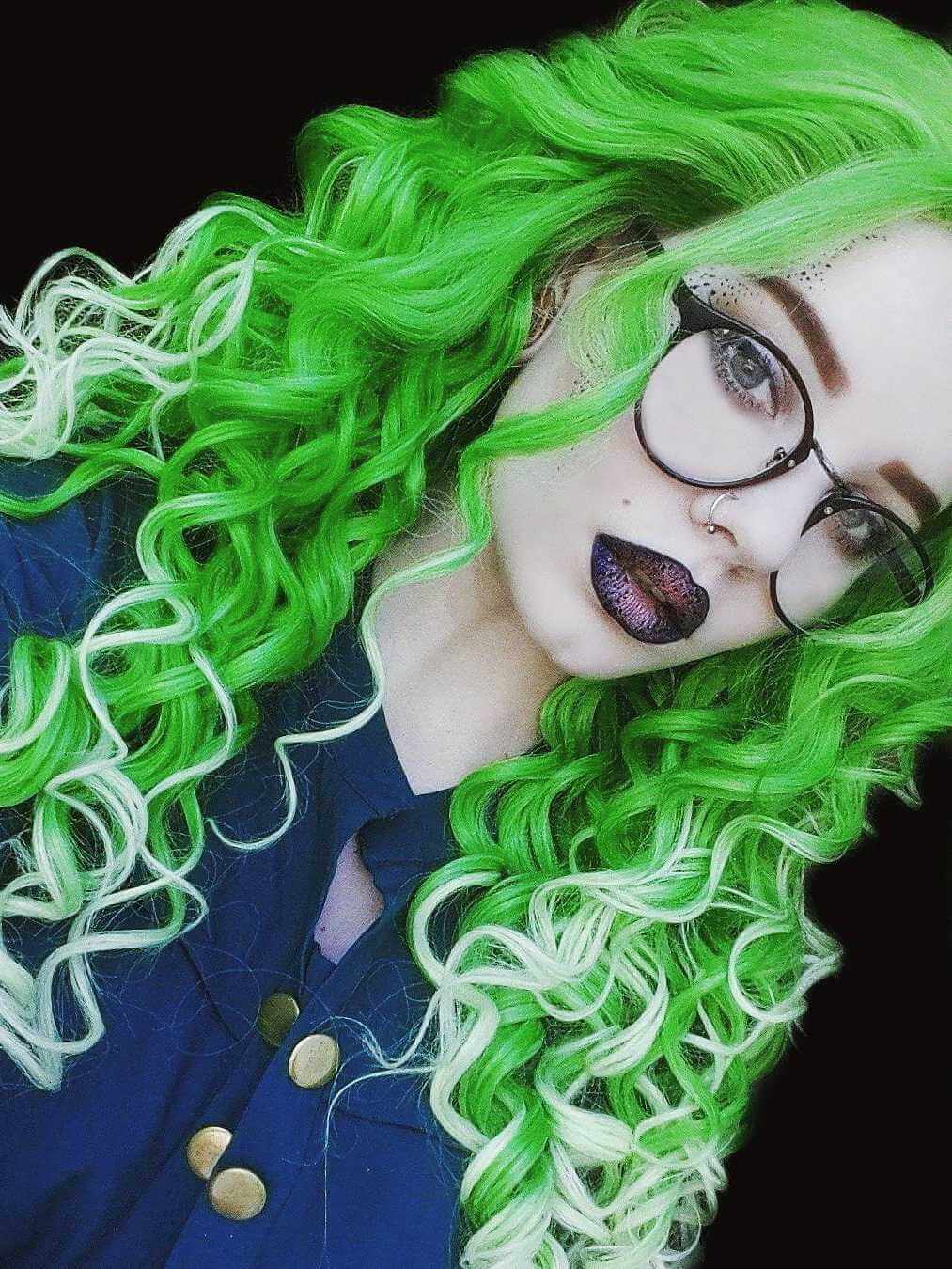 "24"" Green Ombre Long Curly Synthetic Lace Front Wig- edw308"