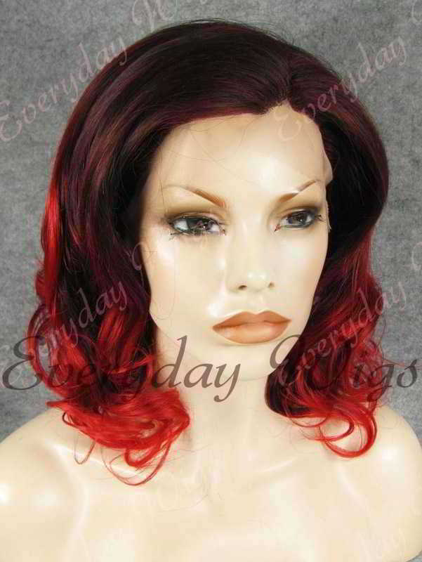 "14"" Shoulder Length Red Ombre Wavy Synthetic Lace Front Wig- edw312"
