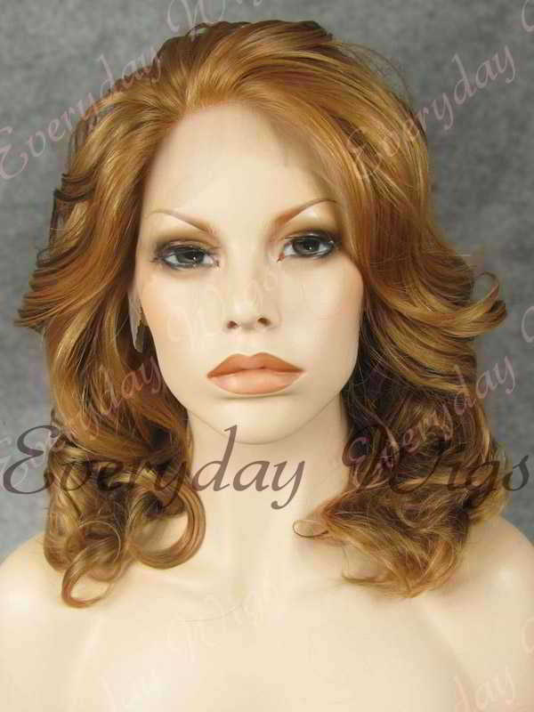 "16"" Shoulder Length Mix Color Wavy Synthetic Lace Front Wig- edw315"