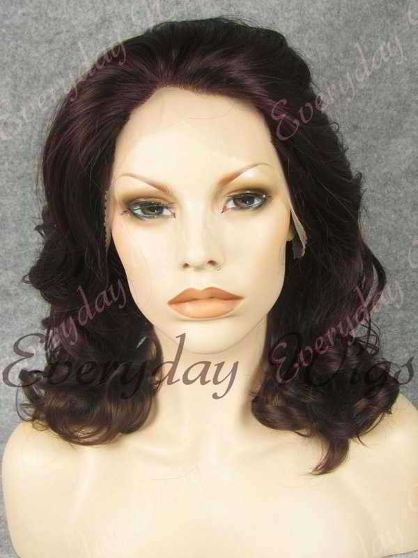 "16"" Shoulder Length Dark Reddish Brown Wavy Synthetic Lace Front Wig- edw316"
