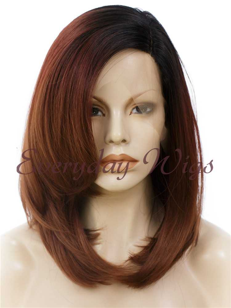 16 Ombre Brown Synthetic Lace Front Wig Edw317