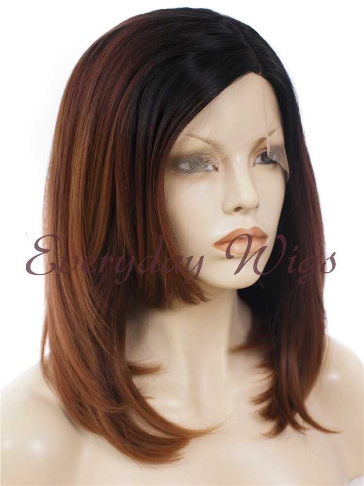 "16"" Shoulder Length Dark Auburn Wavy Synthetic Lace Front Wig- edw317"