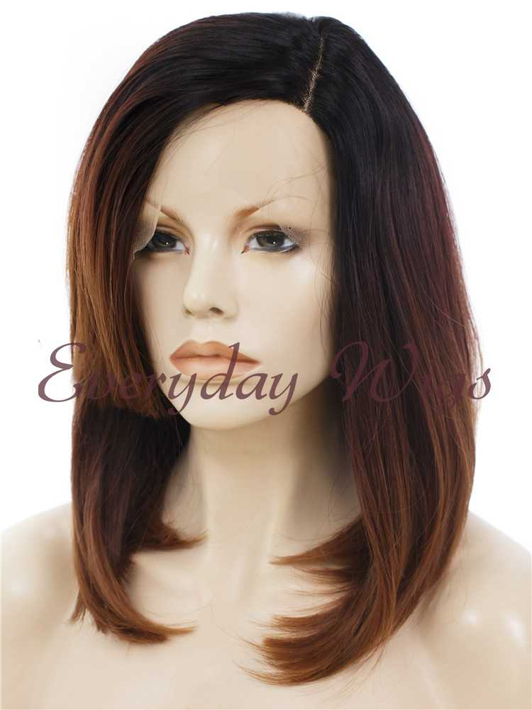 16 Shoulder Length Dark Auburn Wavy Synthetic Lace Front