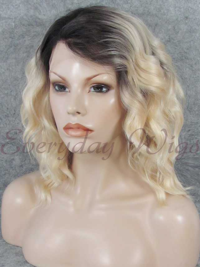 "16"" Shoulder Length Platinum Blonde Wavy Synthetic Wig- edw318"